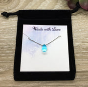 Dainty Blue Tear Drop Necklace, Strength Gift, Water Drop Jewelry, Friendship Necklace, Uplifting Gift. Simple Reminder, Gift for Daughter