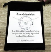 Heart Necklace, True Friendship Quote, Sterling Silver Heart Necklace, Best Friend Gift, Long Distance Friends Gift, Everyday Jewelry Gift