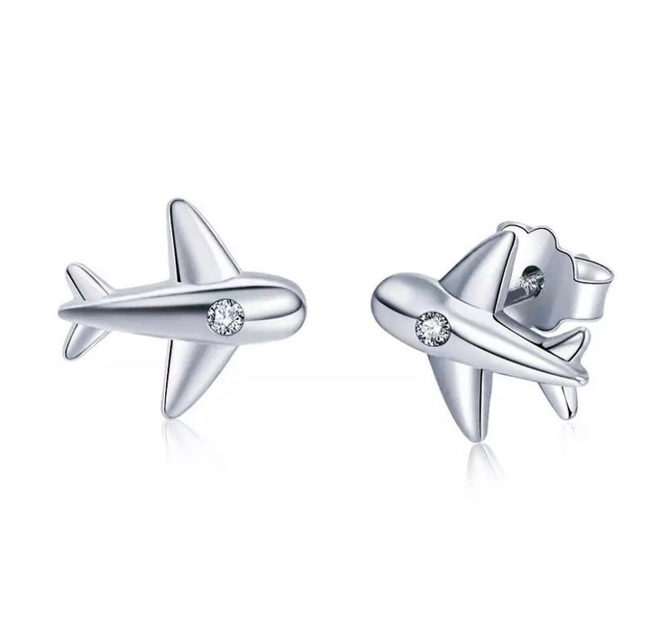 Tiny Airplane Earrings, Sterling Silver Stud Earrings, Minimalist Jewelry, Gift for Traveler, Travel Gifts, Gift for Flight Attendant