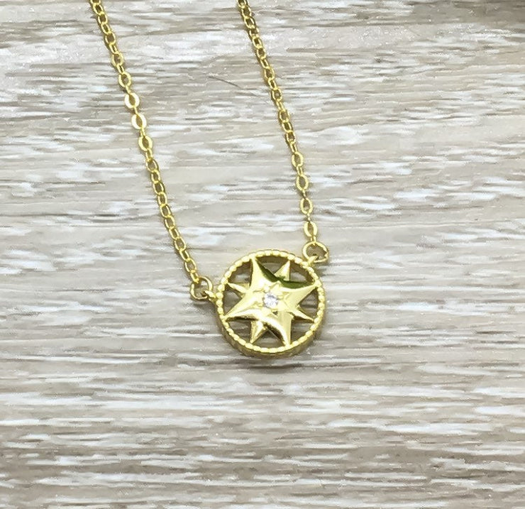 Tiny Compass Necklace Gold, Sterling Silver Pendant, Gift for Traveler, Travel Gifts, Gift for Friend, Meaningful Gift, Gift for Daughter