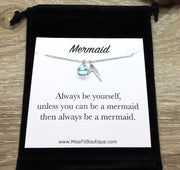 Be Yourself Card, Mermaid Tail Necklace Silver, Meaningful Gift, Mermaid Affirmation Gift, Friendship Necklace, Care Package Gift, Christmas