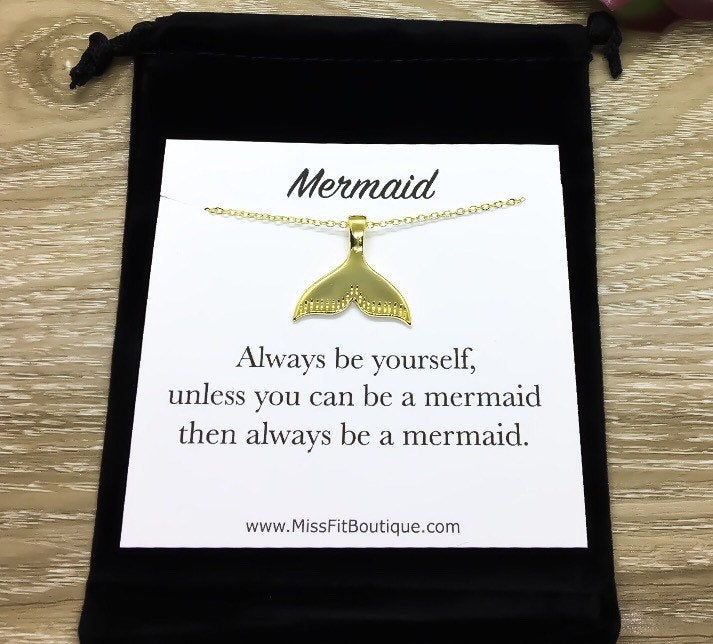 Be Yourself Card, Mermaid Tail Necklace Gold, Meaningful Gift, Positive Affirmation Gift, Friendship Necklace, Friend Birthday Gift