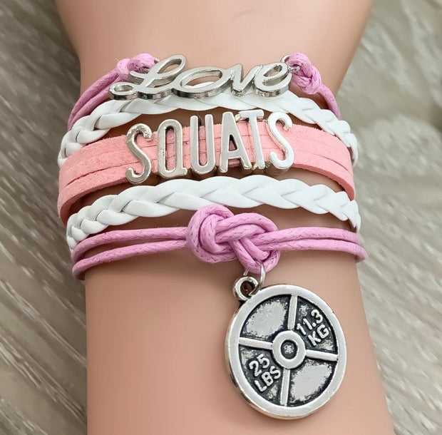 Love Squats Charm Bracelet, Girls Who Lift Gift, Fitness Gifts, Personal Trainer Gift, Friendship Bracelet, Stocking Filler, Christmas Gift