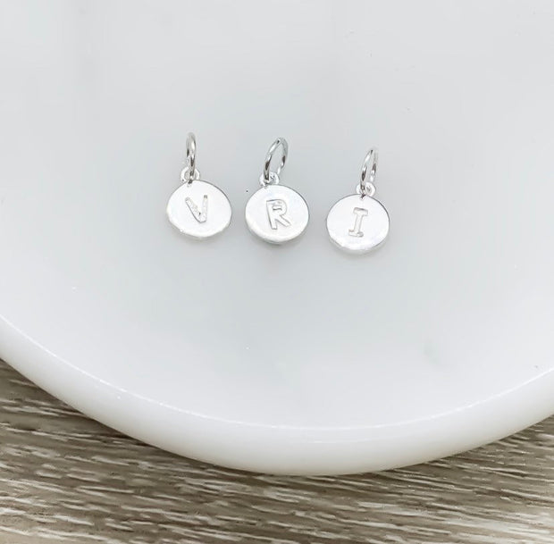 Add On Initial, Sterling Silver Initial, Initial Disc Charm, Tiny Initial Disc Charms, Minimalist Jewelry, Dainty Personalized Jewelry