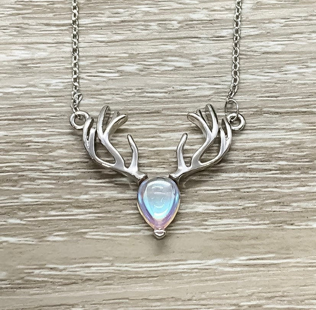 Reindeer Necklace, Dainty Moonstone Pendant, Merry Christmas Card, Moose Necklace, Deer Antler Jewelry, Stag Necklace, Winter Jewelry