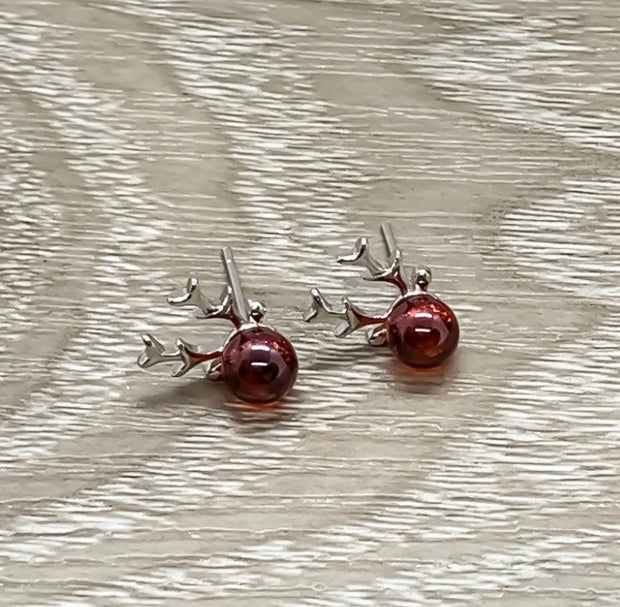 Red Reindeer Earrings, Dainty Moose Stud Earrings, Tiny Deer Antler Jewelry, Stag Earrings, Winter Jewelry, Christmas Gift for Daughter