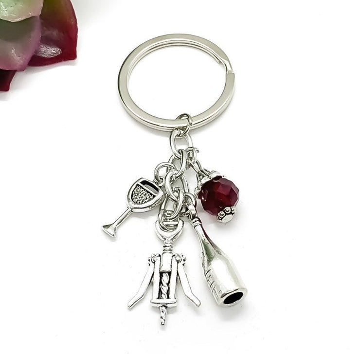 Wine Keychain, Red Wine Charm, Winery Keychain, Wine Bottle Charm, Gift for Her, Wine Lover Gift, Gift for Friend, Secret Santa Gift