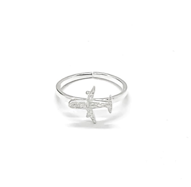 Airplane Ring Silver, Travel Jewelry, Layering Ring, Statement Ring, Dainty Ring, Aviation Gift, Flight Attendent Gift, Friendship Jewelry