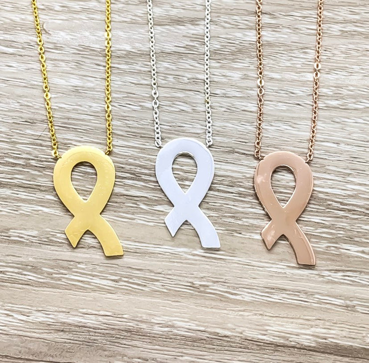Strength Gift, Awareness Ribbon Necklace, Encouragement Gift, Cancer Gift, Healing Jewelry, Empathy Gift, Motivational Gift, Cancer Patient