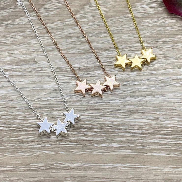 3 Stars Necklace, Reach For The Stars Card, Friendship Necklace, Celestial Jewelry, Meaningful Jewelry, Gift for Daughter, Graduation Gift