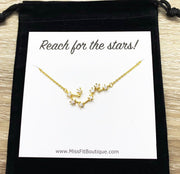 Constellation Necklace, Reach For The Stars Card, Friendship Necklace, Celestial Jewelry, Meaningful Jewelry, Gift for Daughter, Astronomy