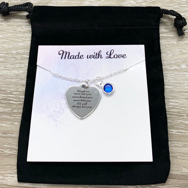 Miscarriage Quote Gift, Silver Heart Charm Necklace, Personalized Grieving Mother Gift, Infant Loss  Jewelry, Memorial Necklace, Bereavement