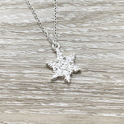 Snowflake Necklace Silver, Christmas Gift, Christmas Necklace, Christmas Jewelry, Girlfriend Gift, Dainty Winter Jewelry,