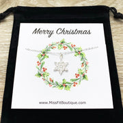 Snowflake Necklace with Merry Christmas Card, Dainty Winter Jewelry, Silver Snowflake Pendant, Gift for Her, Long Distance Friendship
