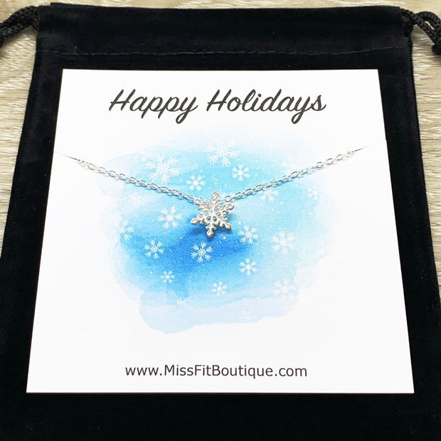 Tiny Snowflake Necklace with Personalized Card, Dainty Winter Jewelry, Snowflake Pendant, Happy Holidays Gift for Her, Secret Santa Gift