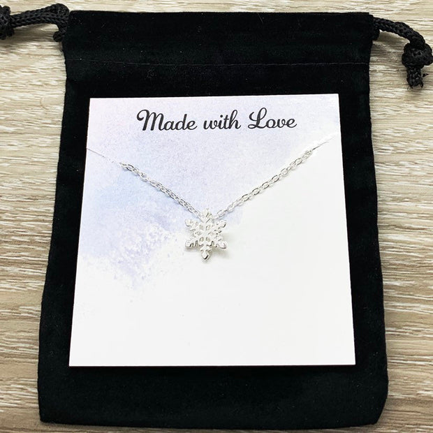 Tiny Snowflake Necklace Set for 2, Dainty Winter Jewelry, Snowflake Pendant, Snow Buddies, Gift for Best Friend, Secret Santa Gift