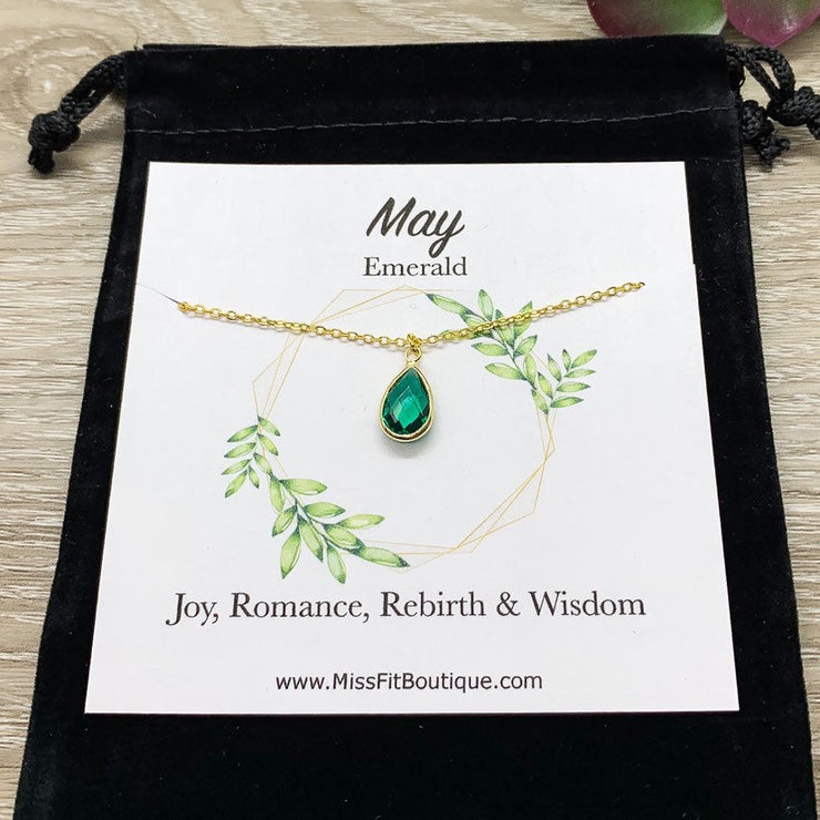 May Birthstone Necklace, Emerald Pendant, Dainty Crystal Charm Necklace, Personalized Birthday Gift for Her, Meaningful Jewelry, Mom Gift