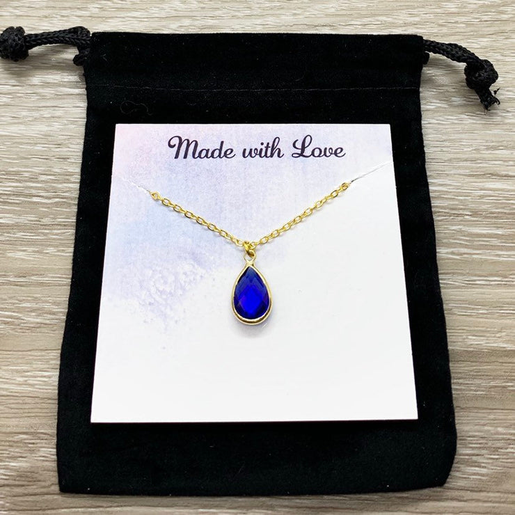 September Birthstone Necklace, Sapphire Pendant, Dainty Crystal Charm Necklace, Personalized Birthday Gift for Her, Meaningful Jewelry, Mom