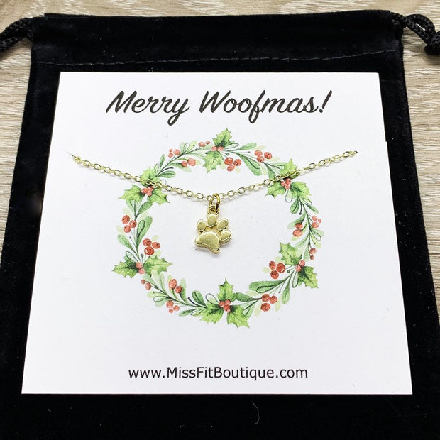 Merry Woofmas Card, Dog Paw Necklace, Dog Lover Christmas Gift, Personalized Gift, Unique Holiday Card, Stocking Stuffer Gift, Doggie Gift