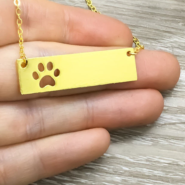 Paw Print Bar Necklace, Dainty Paw Pendant, Minimal Pet Jewelry, Cat Lover Gift, Dog Owner Gift, Paw Prints on your Heart Quote, Pet Loss