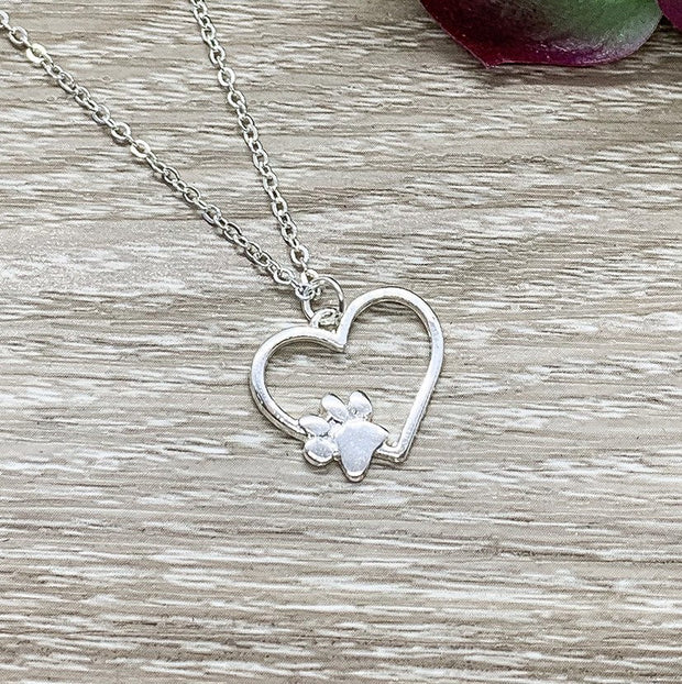 Paw Print Heart Necklace, Dainty Paw Pendant Silver, Minimal Pet Jewelry, Cat Lover Gift, Dog Owner Gift, Paw Prints on your Heart Quote