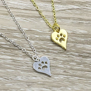 Wags and Wiggles Card, Dog Paw Necklace, Heart Pawprint Pendant, Dog Lover Gift, Personalized Gift, Funny Birthday Card, Gift for Bestfriend