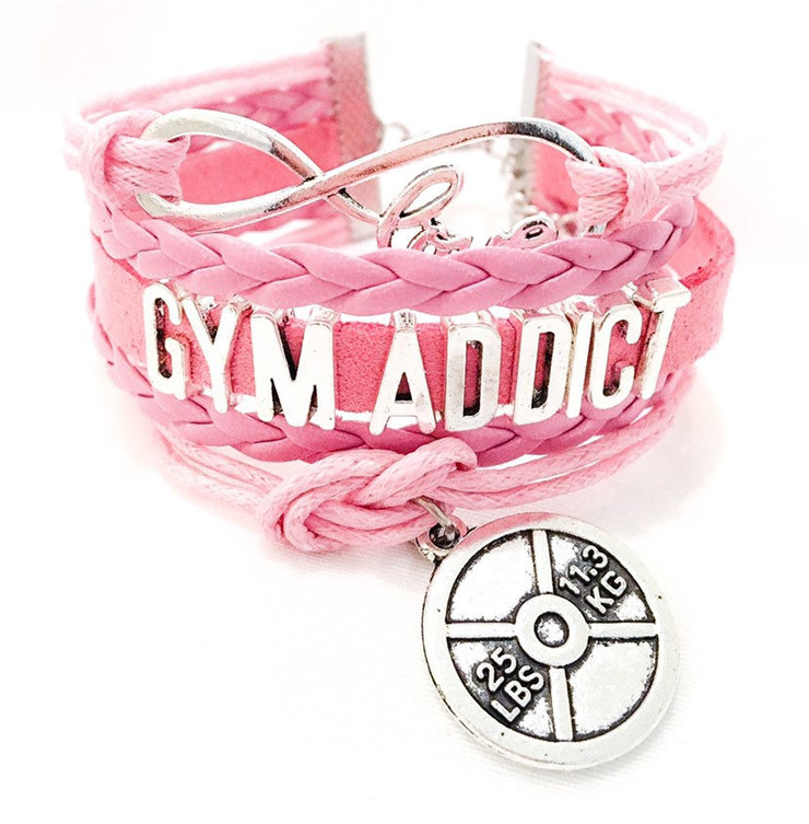 Gym Addict Charm Bracelet , Fitness Gifts, Personal Trainer Gift, Friendship Bracelet, Gifts for Her, Stocking Stuffers, Holiday Gifts