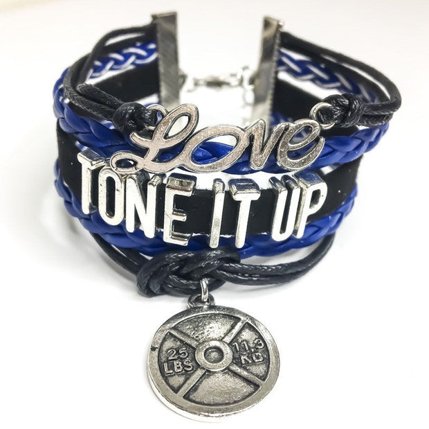 Tone It Up Charm Bracelet , Fitness Gifts, Personal Trainer Gift, Friendship Bracelet, Gifts for Her, Stocking Stuffers, Holiday Gifts