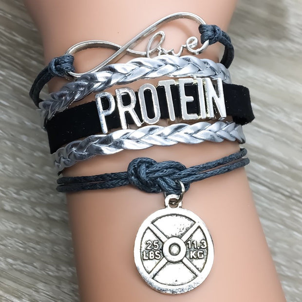 Love Protein Charm Bracelet , Fitness Gifts, Personal Trainer Gift, Friendship Bracelet, Gifts for Her, Stocking Stuffers, Holiday Gifts