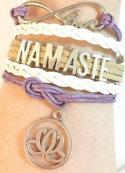 Namaste Charm Bracelet, Fitness Gifts, Yoga Jewelry, Personal Trainer Gift, Friendship Bracelet, Stocking Stuffer, Christmas Gift
