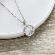 Solitaire Diamond Necklace, Sterling Silver Water Pendant, Minimalist Bezel Jewelry, Gift for Friend, Everyday CZ Necklace, Gift for Her