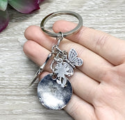 Do What You Love, Gardening Keychain, Gardener Gift, Butterfly Charm, Gift for Mom, Gift for Grandma, Stocking Stuffer, Unique Keychain