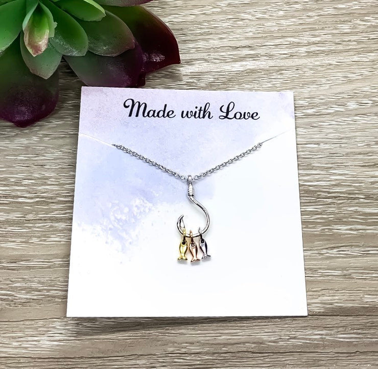 Fish Hook Necklace, Hooked on You Gift, Sterling Silver Pendant, Dainty Jewelry, Girlfriend Gift, Gift for Best Friend, Holiday Jewelry