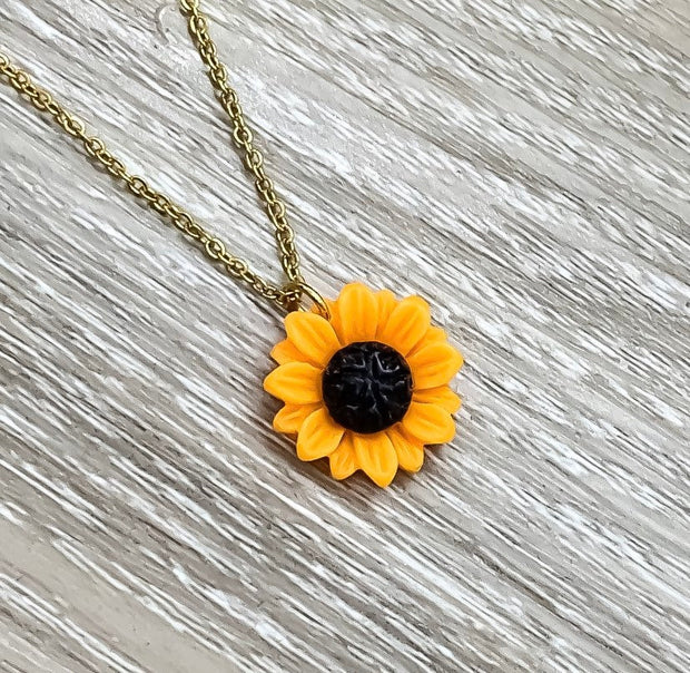 Sunflower Necklace, Orange Flower Charm Necklace, Friends Are Like Flowers, Minimal Floral Jewelry, Simple Reminder Gift, Gift for Bestie