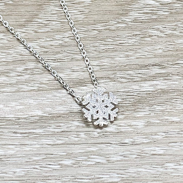 Snowflake Necklace with Card, Dainty Sterling Silver Pendant, Snowflake Jewelry, Happy Holidays Gift for Her, Long Distance Friendship