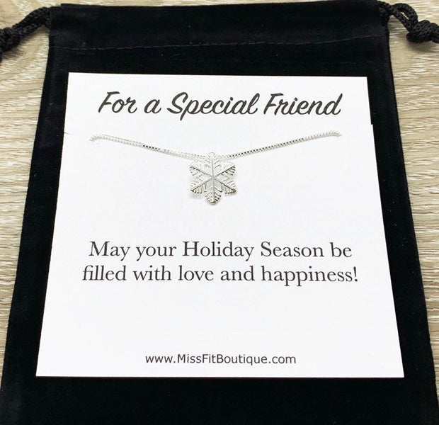 Snowflake Necklace with Card, Dainty Sterling Silver Pendant, Snowflake Jewelry, Christmas Gift for Her, Holiday Gift for a Special Friend