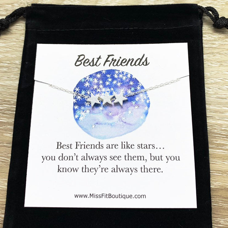 Best Friends Are Like Stars, 3 Stars Necklace, Gift for BFF, Friendship Necklace, Celestial Jewelry, Meaningful Necklace with Card, Sorority