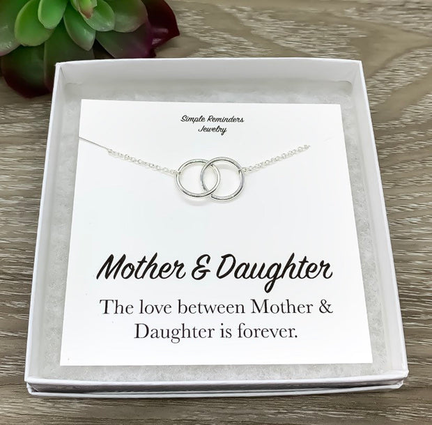 Mother and Daughter Necklace with Gift Box, Infinity Double Circle Necklace, Two Circles Pendant, Every Day Necklace, Gift for Daughter