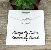Sisters Necklace with Gift Box, Infinity Double Circle Necklace, 2 Circles Pendant, Every Day Necklace, Gift for Bonus Sister, Jewelry Gift