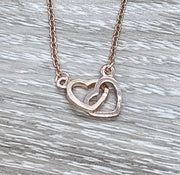 Grandmother and Granddaughter Necklace with Gift Box, Infinity Double Hearts Necklace, Two Heart Pendant, Gift for Grandma