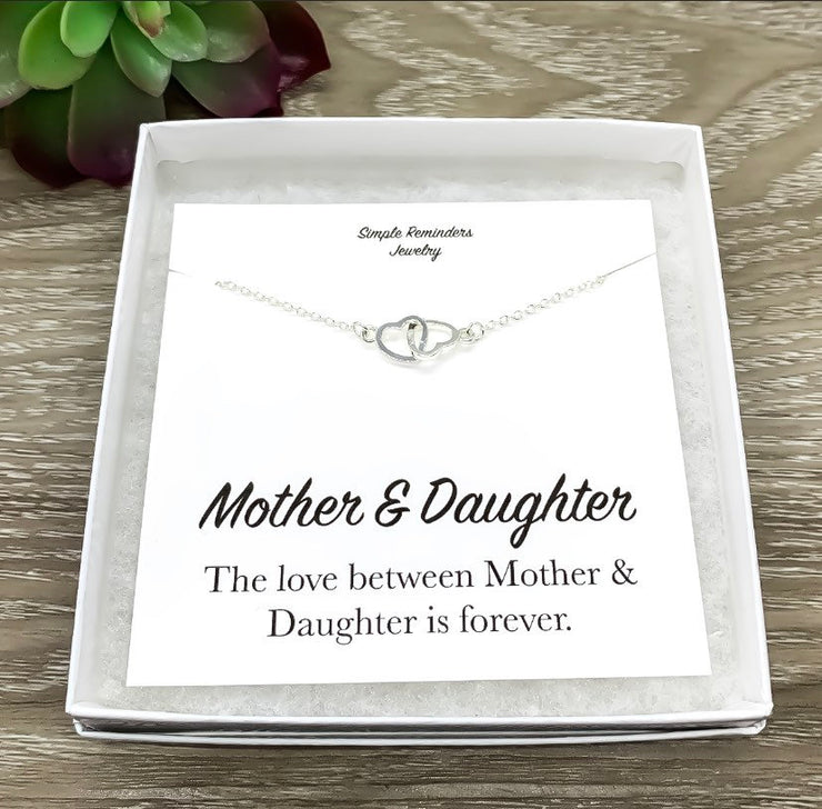 Mother and Daughter Necklace with Gift Box, Infinity Double Hearts Necklace, Two Heart Pendant, Gift for Mom from Daughter, Holiday Gift