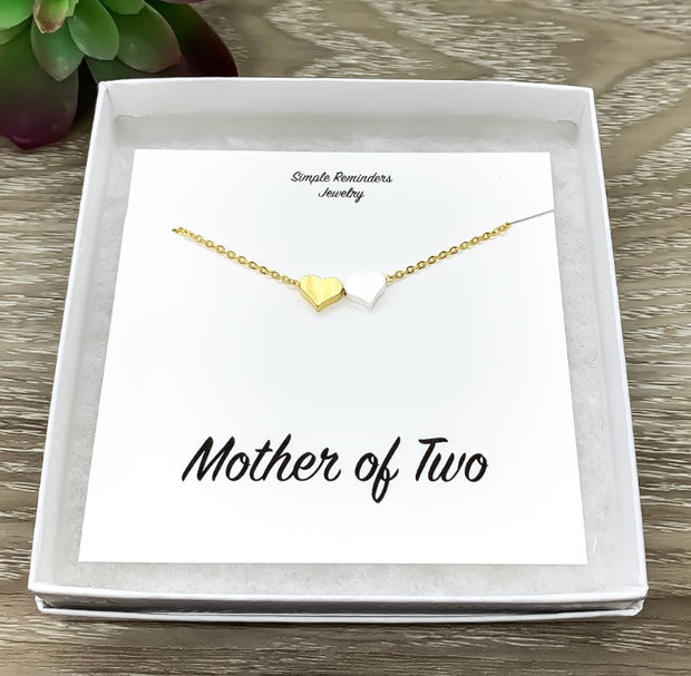 Mother of Two Necklace with Gift Box, Multiple Hearts Necklace, 2 Heart Pendants, Gift for Mom from Kids, Holiday Gift for Mama