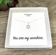 You Are My Sunshine Necklace with Gift Box, Rose Gold Sun Pendant, Gift for Best Friend, Friendship Gift, Birthday Gift for Her