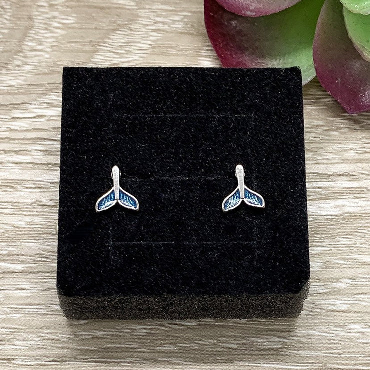 Tiny Blue Tail Stud Earrings, Mermaid Jewelry, Whale Tail Earrings, Sterling Silver Jewelry, Mermaid Life Gift, Whimsical Jewelry, Dolphin