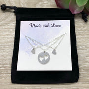 Mother with 2 Daughters Gift, Sharable Necklace Set for 3, Gift for Mom Matching Necklaces, Tiny Heart Cutout Pendant, Gift for Best Friends