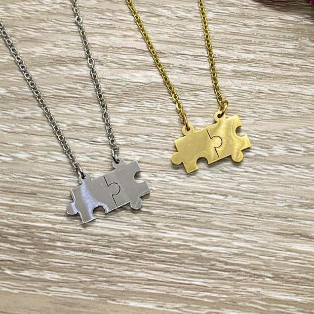 Double Puzzle Necklace or Bracelet, Minimal Jewelry, Dainty Jigsaw Puzzle Pendant, Mother Gift, Holiday Gift Mom, Stainless Steel Jewelry