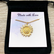 Sunflower Necklace, Gold Flower Jewelry, Friendship Necklace, Floral Jewelry, Nature Gifts, Gift from Best Friend,  Meaningful Gift