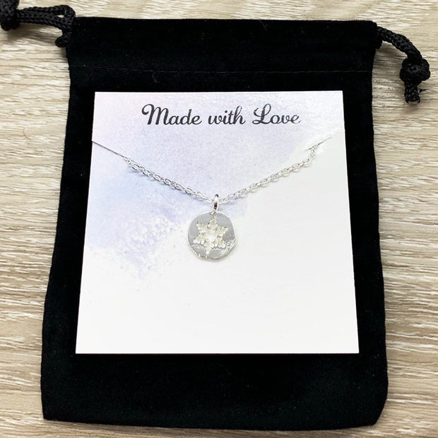 Snowflake Necklace with Card, Dainty Winter Jewelry, Snowflake Pendant, Happy Holidays Gift for Her, Long Distance Friendship