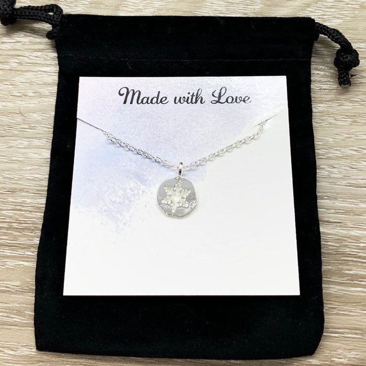 Snowflake Necklace with Card, Gift for Special Friend, Dainty Winter Jewelry, Snowflake Pendant, Happy Holidays Gift for Her, Long Distance