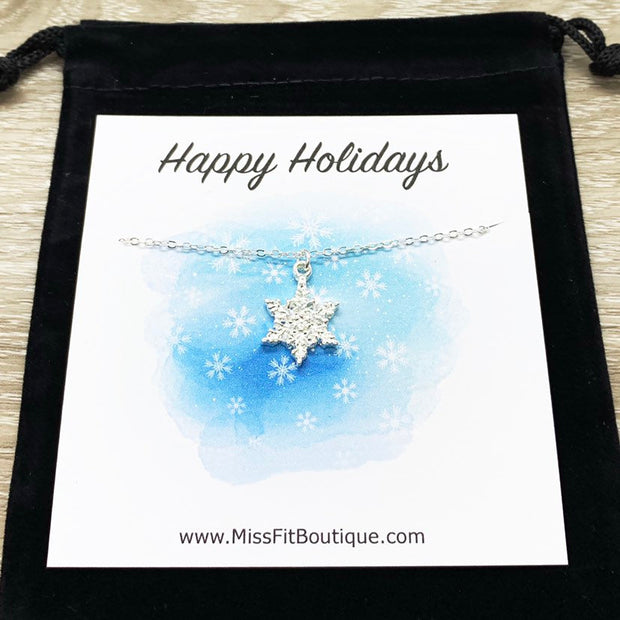 Snowflake Necklace with Card, Dainty Winter Jewelry, Silver Snowflake Pendant, Happy Holidays Gift for Her, Long Distance Friendship